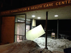 Sand Filled Entryway Of Promenade Rehabilitation Health Center In Rockaway Park Queens